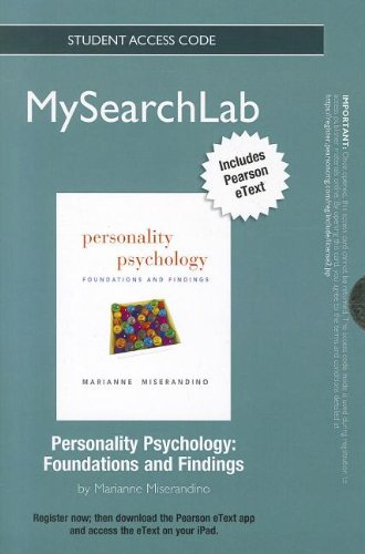 9780205859221: MySearchLab with Pearson eText -- Standalone Access Card -- for Personality Psychology: Foundations and Findings (MySearchLab (Access Codes))