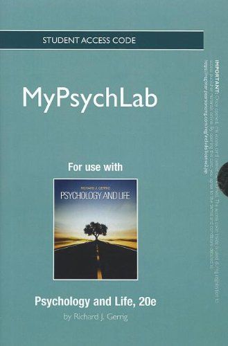 9780205859542: NEW MyPsychLab without Pearson eText -- Standalone Access Card -- for Psychology and Life (20th Edition) (Mypsychlab (Access Codes))