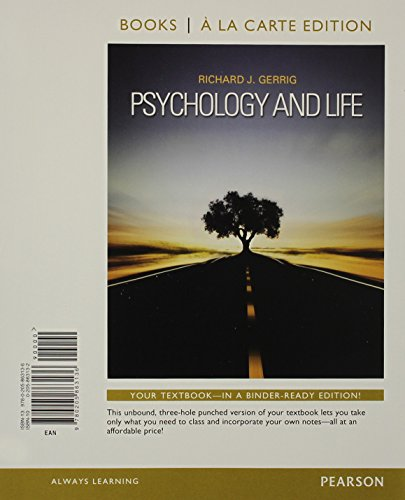 9780205863136: Psychology and Life, Books a la Carte Edition (20th Edition)