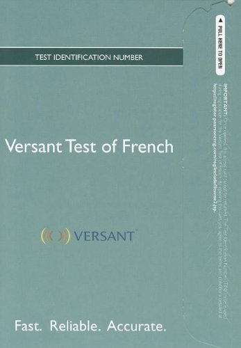 9780205867820: Versant Test of French -- Access Card -- Higher Ed Edition
