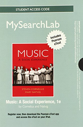 9780205880645: MySearchLab with Pearson eText -- Standalone Access Card -- for Music: A Social Experience