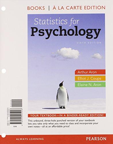9780205905928: Statistics for Psychology, Books a la Carte Edition (6th Edition)