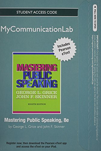 9780205913091: NEW MyCommunicationLab with Pearson eText -- Standalone Access Card -- for Mastering Public Speaking (8th Edition)