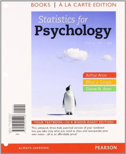 9780205923922: Statistics for Psychology, Books a la Carte Plus NEW MyLab Statistics with eText -- Access Card Package (6th Edition)