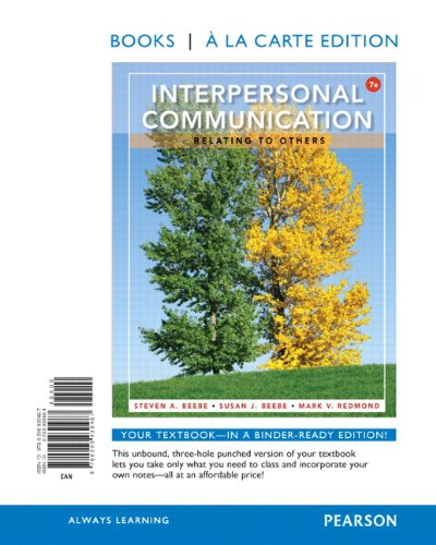 9780205930487: Interpersonal Communication: Relating to Others: Relating to Others, Books a la Carte Edition (7th Edition)