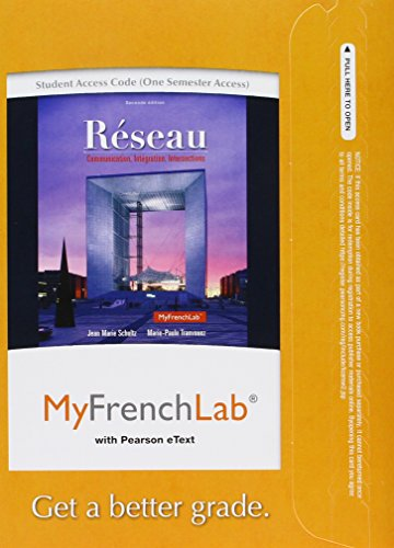 9780205934348: MyFrenchLab with Pearson eText -- Access Card -- for Réseau: Communication, Intégration, Intersections (one semester Access) (2nd Edition)