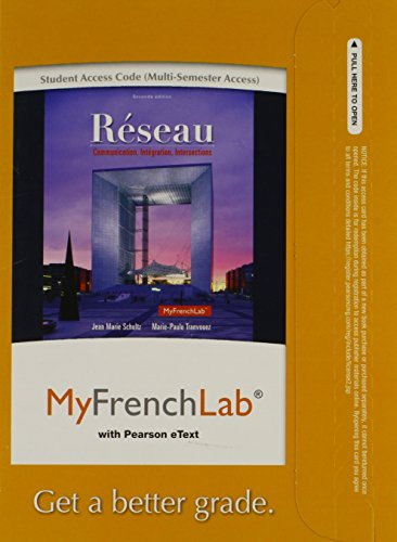9780205934355: MyFrenchLab with Pearson eText -- Access Card -- for Réseau: Communication, Intégration, Intersections (multi semester Access) (2nd Edition)