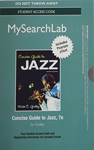9780205938506: MyLab Search with Pearson eText -- Standalone Access Code -- for Concise Guide to Jazz (7th Edition)