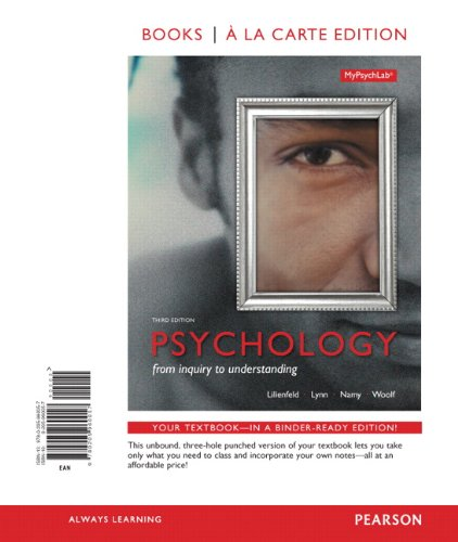 9780205960057: Psychology: From Inquiry to Understanding, Books a la Carte Edition (3rd Edition)
