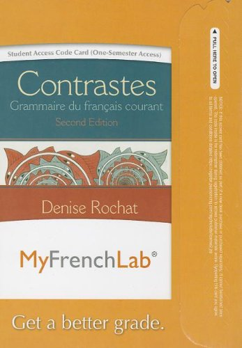 9780205962105: MyFrenchLab with Pearson eText -- Access Card -- for Contrastes: Grammaire du français courant (one semester access) (2nd Edition) (MyFrenchLab (Access Codes))