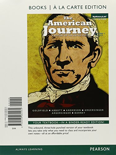 9780205962464: The American Journey: A History of the United States, Volume 1, Books a la Carte Edition (7th Edition)