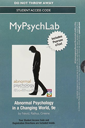 9780205962815: NEW MyPsychLab with Pearson eText -- Standalone Access Card -- for Abnormal Psychology in a Changing World (9th Edition)
