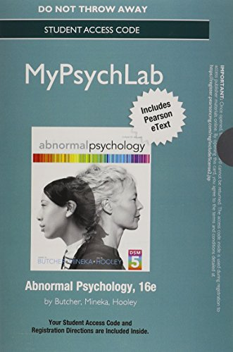 NEW MyPsychLab with Pearson eText -- Standalone Access Card -- for Abnormal Psychology (16th ...