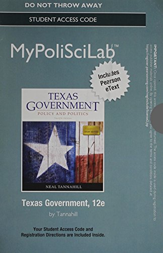 9780205969197: NEW MyPoliSciLab with Pearson eText--Standalone Access Card--for Texas Government (12th Edition)