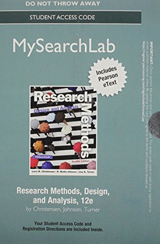 9780205970605: NEW MyLab Search with Pearson eText - Standalone Access Card - for Research Methods, Design, and Analysis (12th Edition)