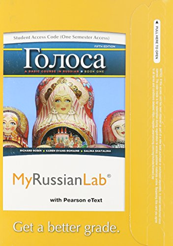 9780205978809: MyRussianLab with Pearson eText -- Access Card -- for Golosa: A Basic Course in Russian, Book One (one semester access) (5th Edition)