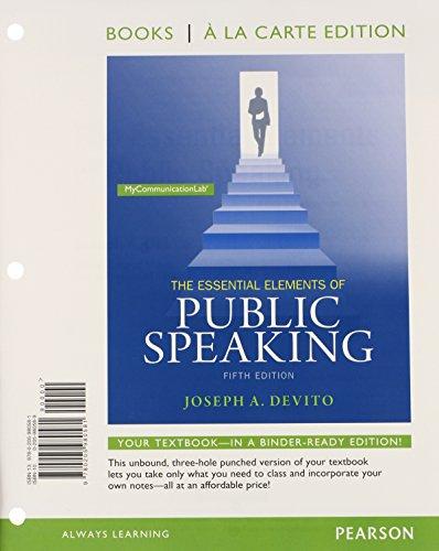 9780205980581: Essential Elements of Public Speaking, Books a la Carte Edition (5th Edition)