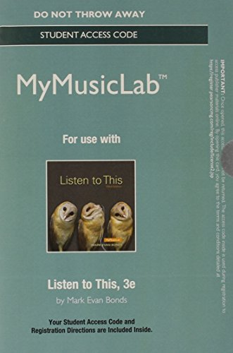 9780205986682: NEW MyMusicLab without Pearson eText - Standalone Access Card - for Listen to This (3rd Edition)