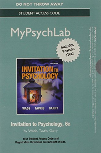 9780205997961: NEW MyPsychLab with Pearson eText -- Standalone Access Card -- for Invitation to Psychology (6th Edition)