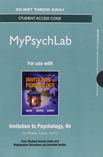 9780205997985: NEW MyLab Psychology without Pearson eText - Standalone Access Card - for Invitation to Psychology (6th Edition)