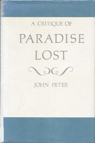 9780208009913: A critique of Paradise lost