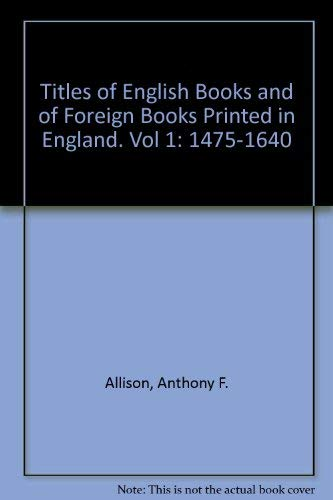 Titles of English Books and of Foreign: V. F. Goldsmith;