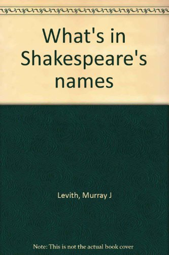9780208017161: Title: Whats in Shakespeares names