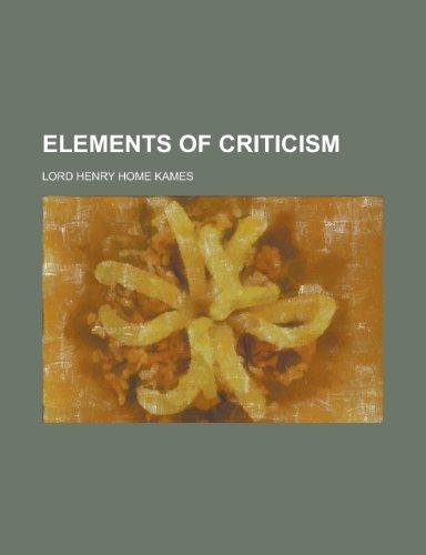 9780217947411: Elements of criticism
