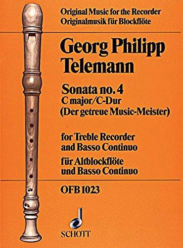9780220116866: Sonata No. 4 C major - Treble Recorder and Basso Continuo- Cello Ad Lib. - Book