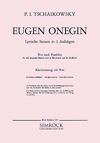 9780221102394: Eugene Onegin op. 24 CW 5 (Lyrical Scenes in 3 acts)