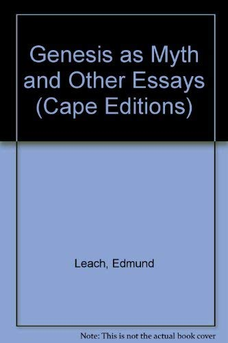 9780224617802: Genesis as myth,: And other essays (Cape editions, 39)