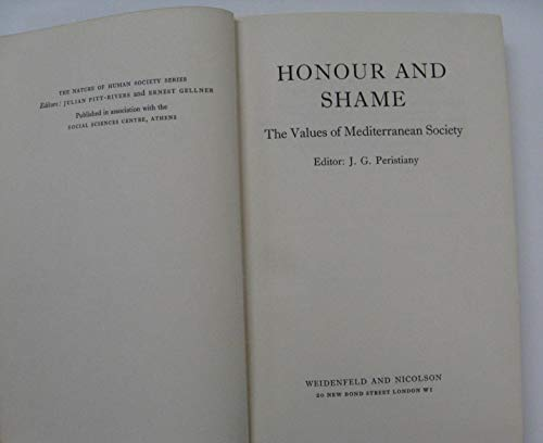 9780226657134: Honour and Shame: The Values of Mediterranean Society