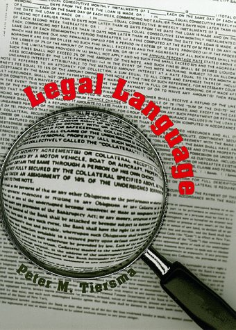 9780226803029: Legal Language