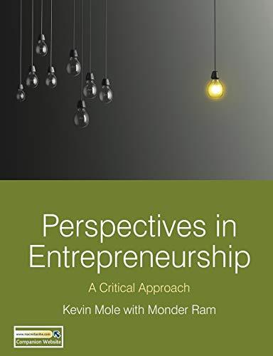 9780230241107: Perspectives in Entrepreneurship: A Critical Approach