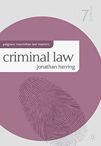 9780230285729: Criminal Law (Palgrave MacMillan Law Masters)