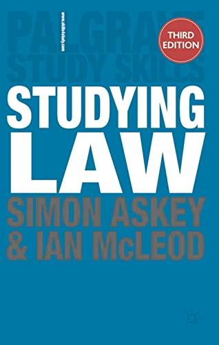 9780230302792: Studying Law. Simon Askey and Ian McLeod (Palgrave Study Skills)