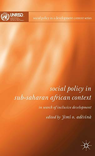 9780230520837: Social Policy in Sub-Saharan African Context: In Search of Inclusive Development (Social Policy in a Development Context)