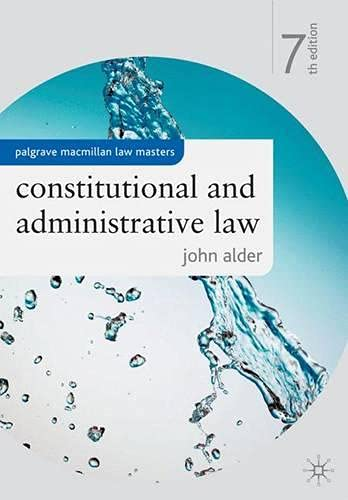 9780230576629: Constitutional and Administrative Law (Palgrave Macmillan Law Masters)