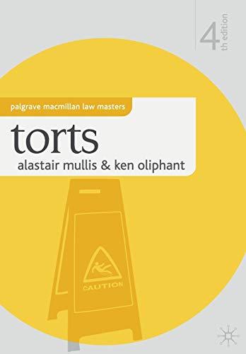 9780230576759: Torts. Alistair Mullis and Ken Oliphant