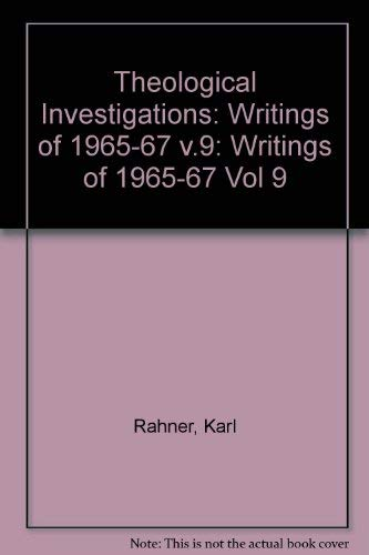 9780232510881: Theological Investigations, Volume IX: Writings of 1965-67 I