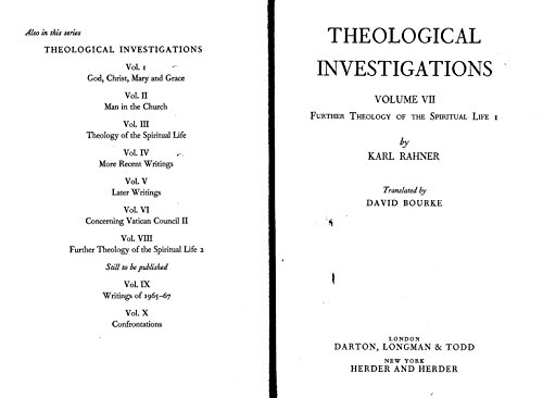 9780232511567: THEOLOGICAL INVESTIGATIONS VOL 7. FURTHER THEOLOGY OF THE SPIRITUAL LIFE 1.