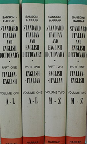 9780245596339: Sansoni-Harrap Standard Italian-English, English-Italian Dictionary: Italian-English Pt.1