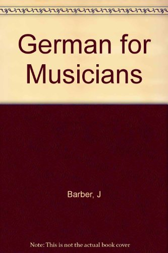 9780253325716: German for Musicians
