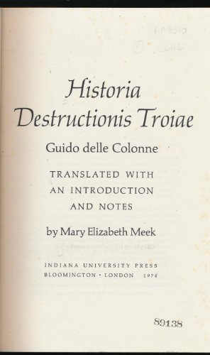 9780253327406: Historia Destructionis Troiae (English and Latin Edition)