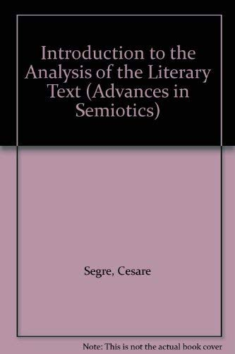 9780253331069: Introduction to the Analysis of the Literary Text