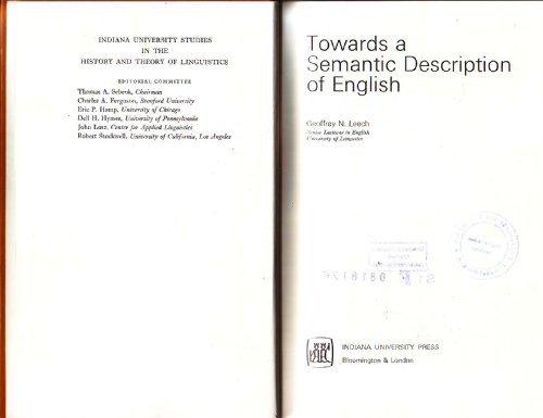 Towards a semantic description of English (Indiana: Geoffrey N Leech