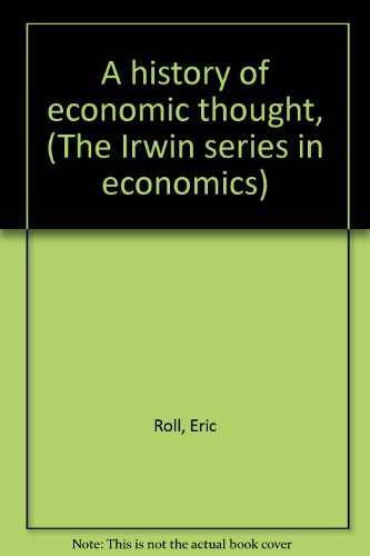 9780256016093: A history of economic thought, (The Irwin series in economics)