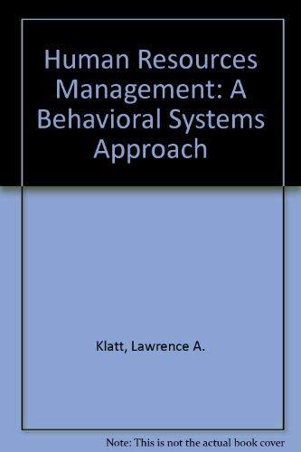 Human Resources Management : A Behavioral Systems: Robert G. Murdick;