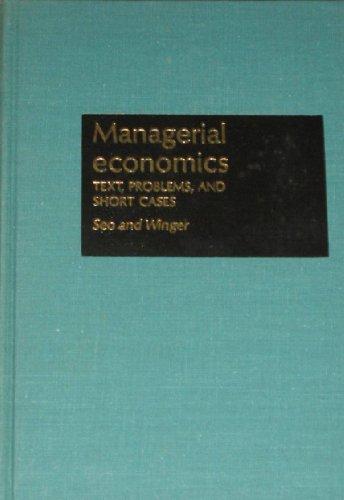 9780256021776: Managerial Economics (The Irwin series in economics)