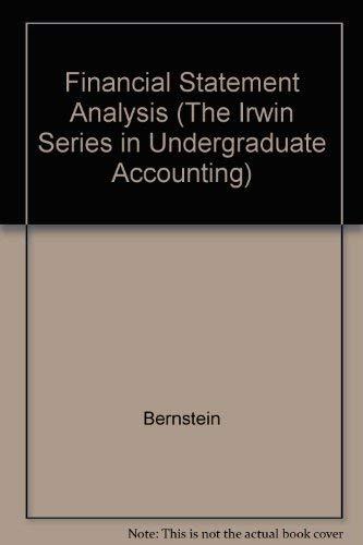 9780256102239: Financial Statement Analysis (The Irwin Series in Undergraduate Accounting)